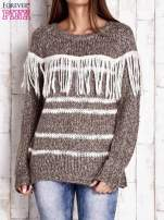 Brązowy wełniany sweter z frędzlami