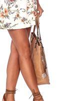 Camelowa torba w kwiaty ze wstawką crocodile skin                                  zdj.                                  5
