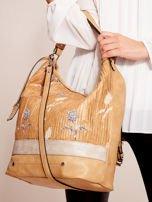 Camelowa torba z łączonych materiałów w stylu japońskim                                  zdj.                                  2