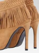 Camelowe botki open toe z frędzlami w stylu boho                                                                          zdj.                                                                         8