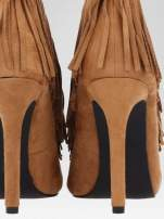 Camelowe sznurowane botki open toe z frędzlami                                                                          zdj.                                                                         9