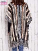Camelowy sweter poncho z frędzlami                                   zdj.                                  5