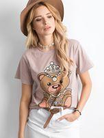 Ciemnobeżowa koszulka z błyszczącą aplikacją                                  zdj.                                  3