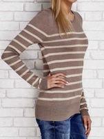 Ciemnobeżowy sweter w paski                                  zdj.                                  3