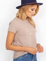 Ciemnobeżowy t-shirt Peachy                                  zdj.                                  3