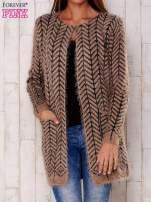 Ciemnobeżowy wełniany sweter z kieszeniami                                  zdj.                                  1