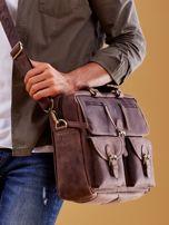 Ciemnobrązowa torba męska z odpinanym paskiem                                  zdj.                                  4
