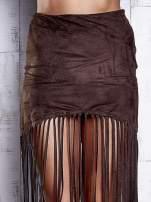 Ciemnobrązowa zamszowa spódnica z frędzlami                                  zdj.                                  5