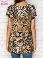 Ciemnobrązowy t-shirt z nadrukiem pantery z dżetami                                                                          zdj.                                                                         4