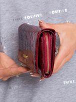 Ciemnoczerwony podłużny portfel z motywem zwierzęcym                                  zdj.                                  3