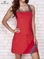 Fuksjowa sukienka sportowa z szarymi wstawkami                                                                          zdj.                                                                         1