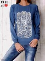 Ciemnoniebieska bluza z motywem dłoni                                  zdj.                                  1