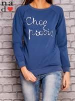 Ciemnoniebieska bluza z napisem CHCĘ PSOCIĆ                                  zdj.                                  1