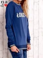 Ciemnoniebieska bluza z napisem ŁOBUZIARA