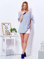 Ciemnoniebieska bluzka hiszpanka w paski z perełkami                                  zdj.                                  4