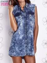 Ciemnoniebieska dekatyzowana sukienka jeansowa o kroju tuniki                                  zdj.                                  1