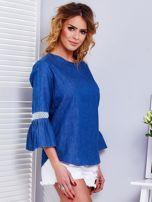 Ciemnoniebieska jeansowa bluzka z szerokimi rękawami                                  zdj.                                  6