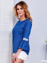 Ciemnoniebieska jeansowa bluzka z szerokimi rękawami                                  zdj.                                  3