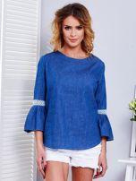 Ciemnoniebieska jeansowa bluzka z szerokimi rękawami                                  zdj.                                  5
