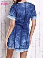 Ciemnoniebieska jeansowa sukienka z surowym wykończeniem                                  zdj.                                  4