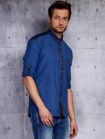 Ciemnoniebieska koszula męska w drobny wzór PLUS SIZE                                  zdj.                                  5