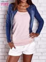 Ciemnoniebieska krótka kurtka jeansowa z przetarciami                                  zdj.                                  1