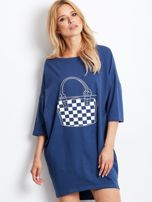 Ciemnoniebieska luźna dresowa sukienka                                  zdj.                                  1