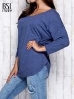 Ciemnoniebieska melanżowa bluzka z dekoltem na plecach                                  zdj.                                  4