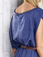 Ciemnoniebieska melanżowa sukienka oversize z guzikami                                                                          zdj.                                                                         8