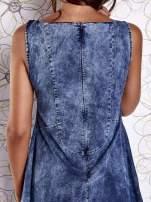Ciemnoniebieska rozkloszowana dekatyzowana sukienka                                  zdj.                                  8