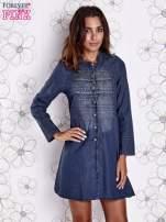 Ciemnoniebieska sukienka jeansowa z plecionymi elementami                                  zdj.                                  3