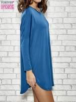 Ciemnoniebieska sukienka z rozporkami po bokach                                  zdj.                                  3