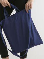 Ciemnoniebieska torba ekologiczna z bawełny z napisem                                  zdj.                                  2