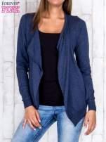 Ciemnoniebieski niezapinany sweter z melanżowym efektem                                                                          zdj.                                                                         1
