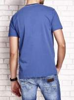 Ciemnoniebieski t-shirt męski z napisem RAMOS i nadrukiem                                  zdj.                                  2