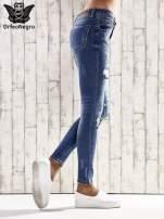 Ciemnoniebieskie spodnie skinny jeans z dziurami                                                                          zdj.                                                                         2