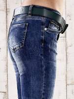Ciemnoniebieskie spodnie skinny jeans z paskiem                                                                          zdj.                                                                         5