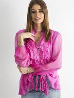 Ciemnoróżowa bluzka z żabotem                                  zdj.                                  1