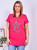 Ciemnoróżowy t-shirt z błyszczącą gwiazdą PLUS SIZE                                  zdj.                                  1