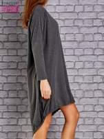Ciemnoszara asymetryczna sukienka z naszywką i troczkami                                  zdj.                                  3