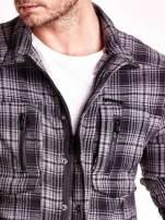 Ciemnoszara bluza męska w kratę ze stójką