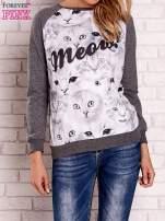 Ciemnoszara bluza z nadrukiem kotów i napisem