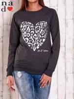 Grafitowa bluza z nadrukiem serca i napisem JE T'AIME