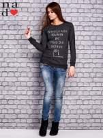 Ciemnoszara bluza z napisem PONIEDZIAŁEK POWINIEN BYĆ TYLKO DLA CHĘTNYCH                                  zdj.                                  4