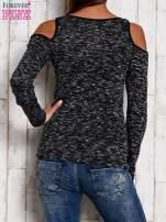 Ciemnoszara melanżowa bluzka cut out shoulder                                   zdj.                                  4