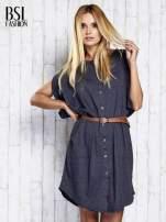 Ciemnoszara melanżowa sukienka oversize z guzikami                                  zdj.                                  3