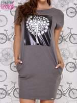 Ciemnoszara sukienka dresowa ze srebrnym printem drzewa