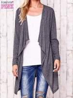 Ciemnoszary melanżowy sweter w drobne prążki                                  zdj.                                  1