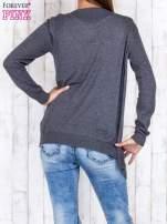 Ciemnoszary niezapinany sweter z melanżowym efektem                                                                          zdj.                                                                         4