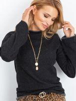 Ciemnoszary sweter damski z szerokimi rękawami                                  zdj.                                  1